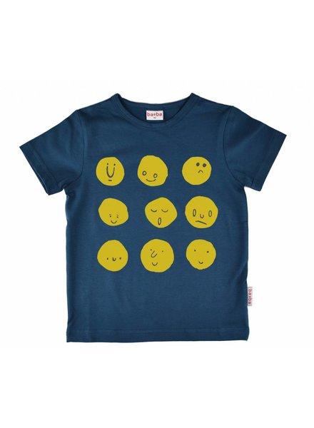 Baba Babywear T-shirt boy funny faces - Dark blue
