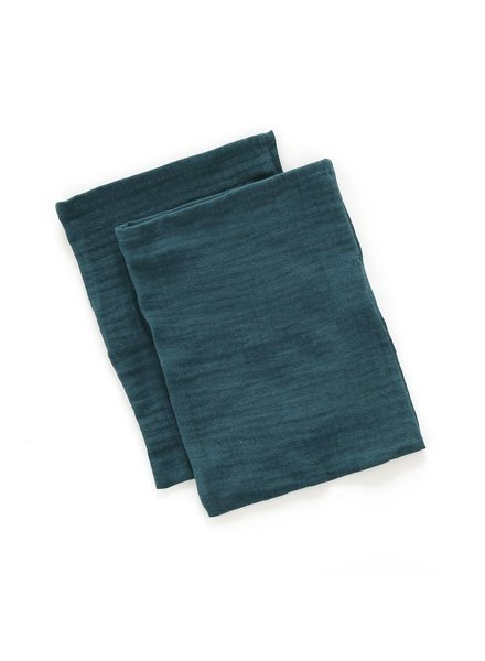 Mundo Melocoton Wash Cloth Organic Muslin - Set of 2 - Teal