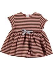 Beans Genova - Striped Cotton Dress - Peach