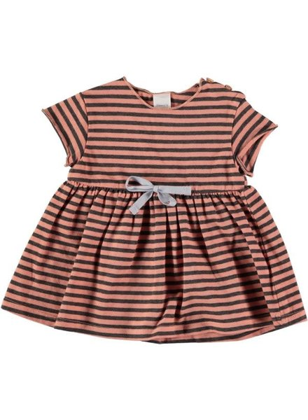 Beans Genova - Striped Cotton Dress - Peach