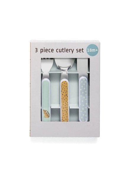 Petit Monkey Cutlery Set - Leopard Aqua