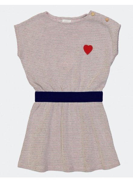 Blune Cotton Piqué Embroidered Dress - Navy/Fraise
