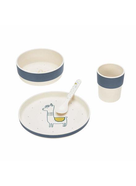 Lässig Dish Set with bamboo Glama Lama - Blue (plate, bowl, mug, spoon)