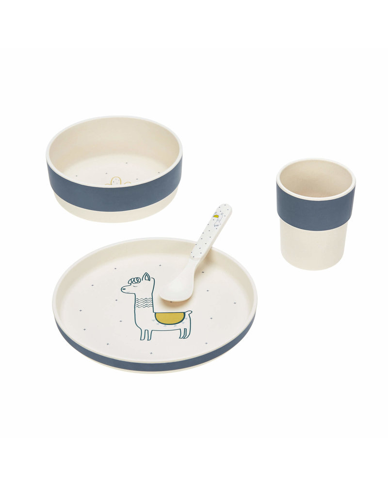 Lässig Dish Set with bamboo Glama Lama - Blue (plate, bowl, mug, spoon)