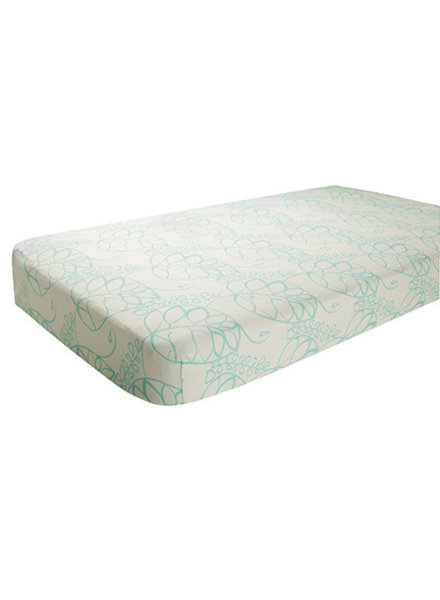 aden and anais BAMBOO COT SHEETS - azure - leafy (60x120 cm)
