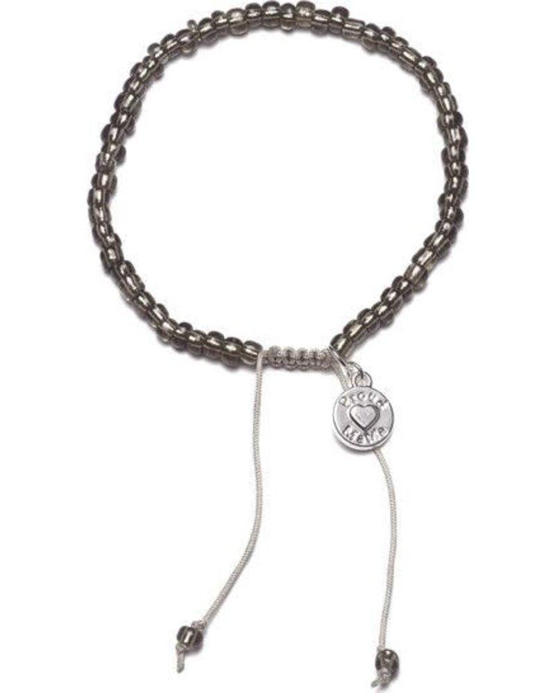 Armband beads antraciet