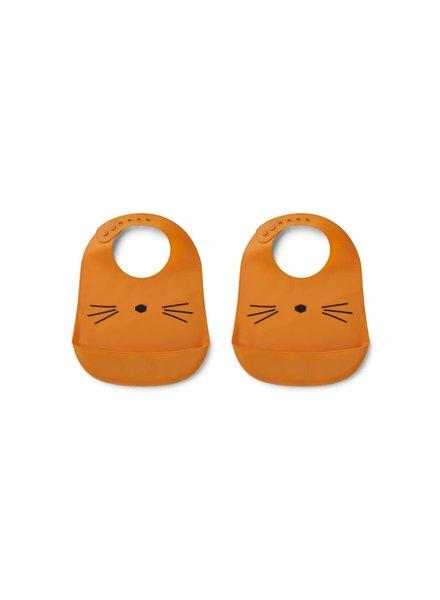 Liewood Tilde silicone bib 2 pack - Cat Mustard