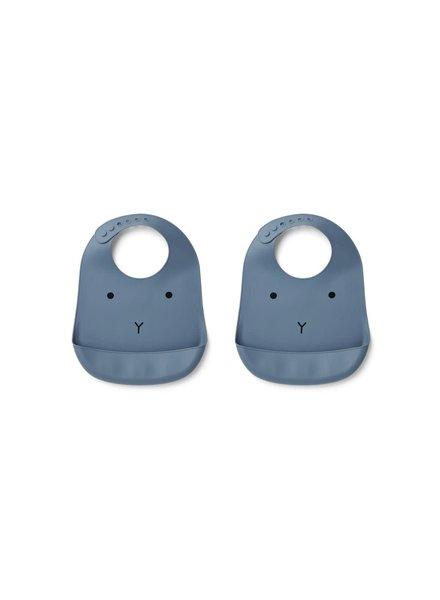 Liewood Tilda silicone bib 2 pack - Rabbit blue wave