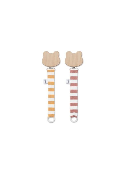 Liewood Sia Pacifier Strap - 2 Pack - Mustard/ Crème de la Crème