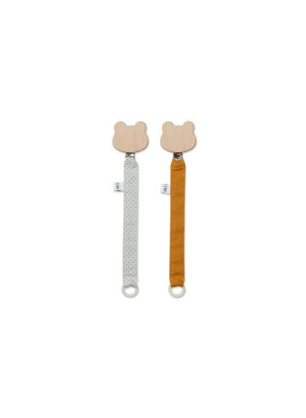 Liewood Sia Pacifier Strap - 2 Pack - Little Dot Dumbo Grey