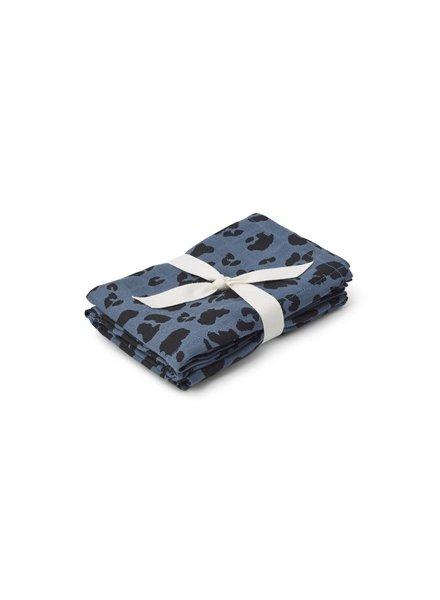 Liewood Hannah Muslin Cloth - 2 Pack - Leo Blue Wave