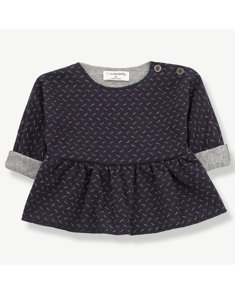 1 + In the Family Muriel Blouse Blue/Grey - Maat 62