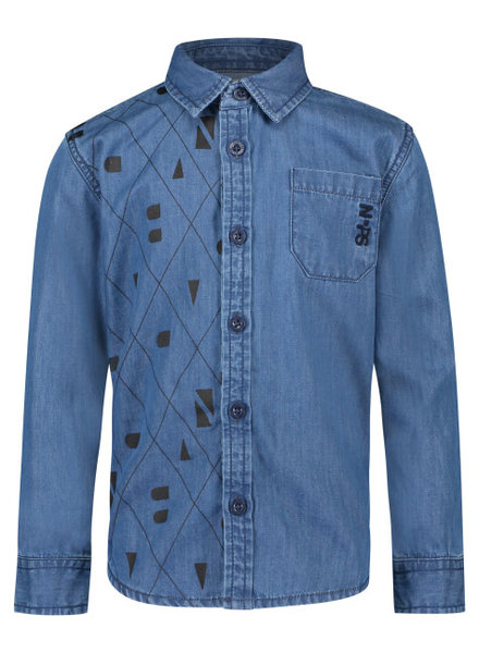 Noppies Shirt ls Verney - Dark Blue Wash - Maat 104