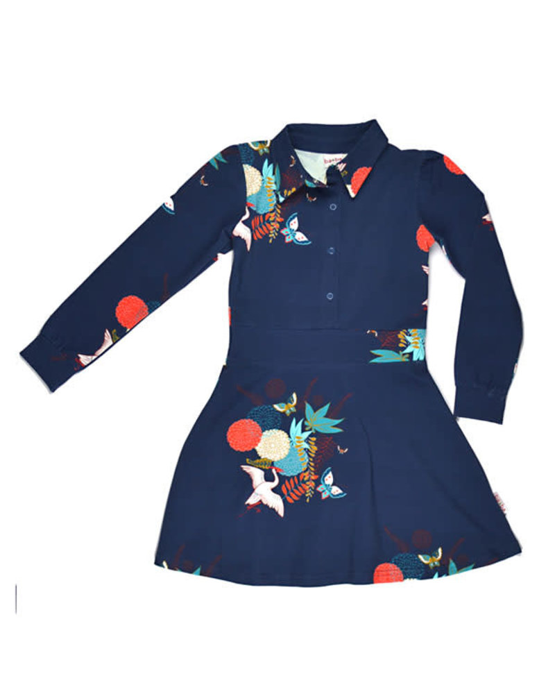 Baba Babywear Shirt Dress - Crane Birds