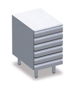 Schubladenblock mit Behältern, 7 Schubladen EN 600x400 mm