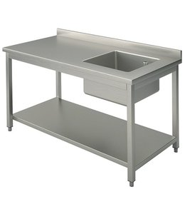 Mastro Arbeitstisch mit Becken rechts / 1000x700 mm / mit Zwischenboden und Aufkantung