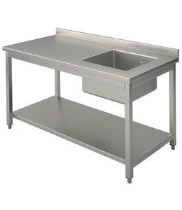 Mastro Arbeitstisch mit Becken rechts / 1200x700 mm / mit Zwischenboden und Aufkantung