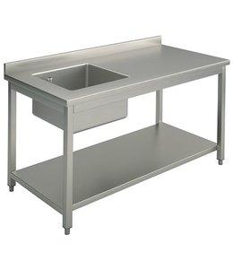 Mastro Arbeitstisch mit Becken links / 1300x700 mm / mit Zwischenboden und Aufkantung