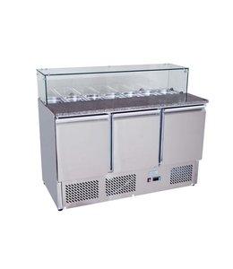 GGG Pizzadette / 1365x700 / Saladette mit 3 Türen  + Glasaufsatz