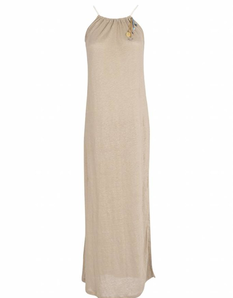 EVANGELATOU SOFIA ZETA GOLD DRESS SAND