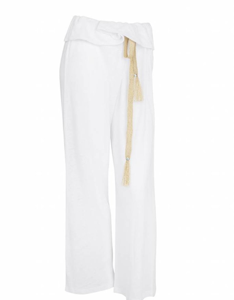EVANGELATOU KIMOLOS ZETA GOLD TROUSERS WHITE