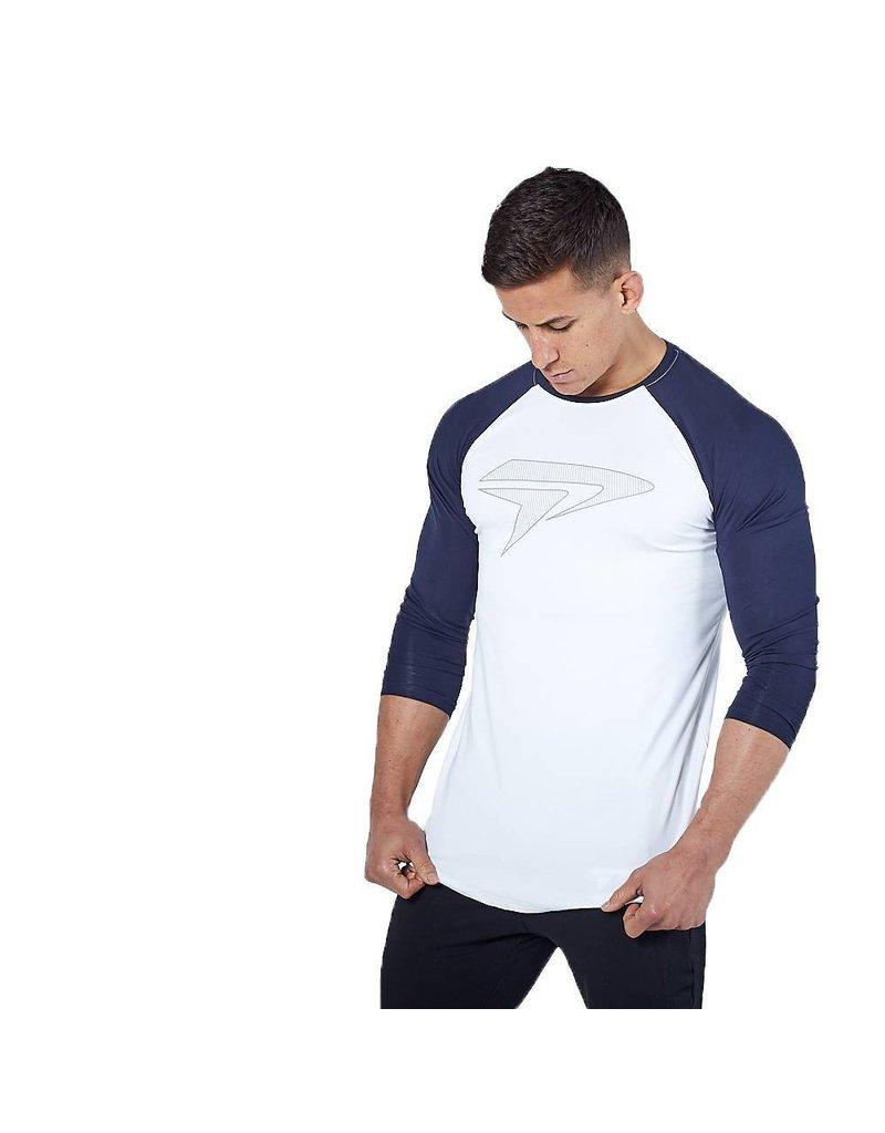 Physiq apparel  Apex 3/4 gym t-shirt - wit/navy