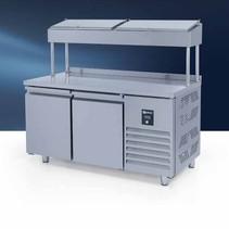 Iceinox opmaaktafel - 330 liter 2-deurs gekoelde onderkast RVS