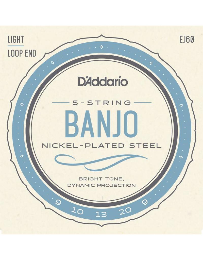 DAddario 5 String Banjo, 9-20, Loopend, EJ60