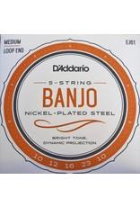 DAddario 5-String Banjo, Nickel-Plated Steel, Loop End, EJ61