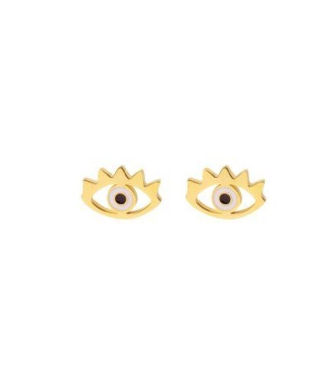 Eye earrings goud