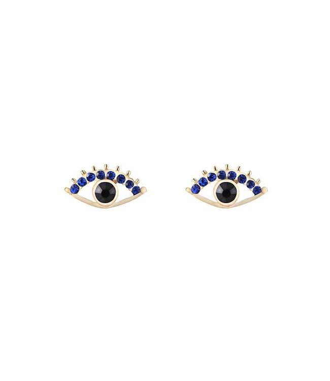Sparkly eye earrings goud