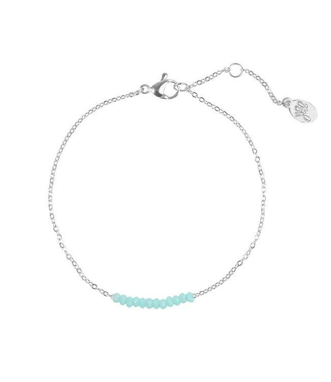 Little beads bracelet zilver/turquoise