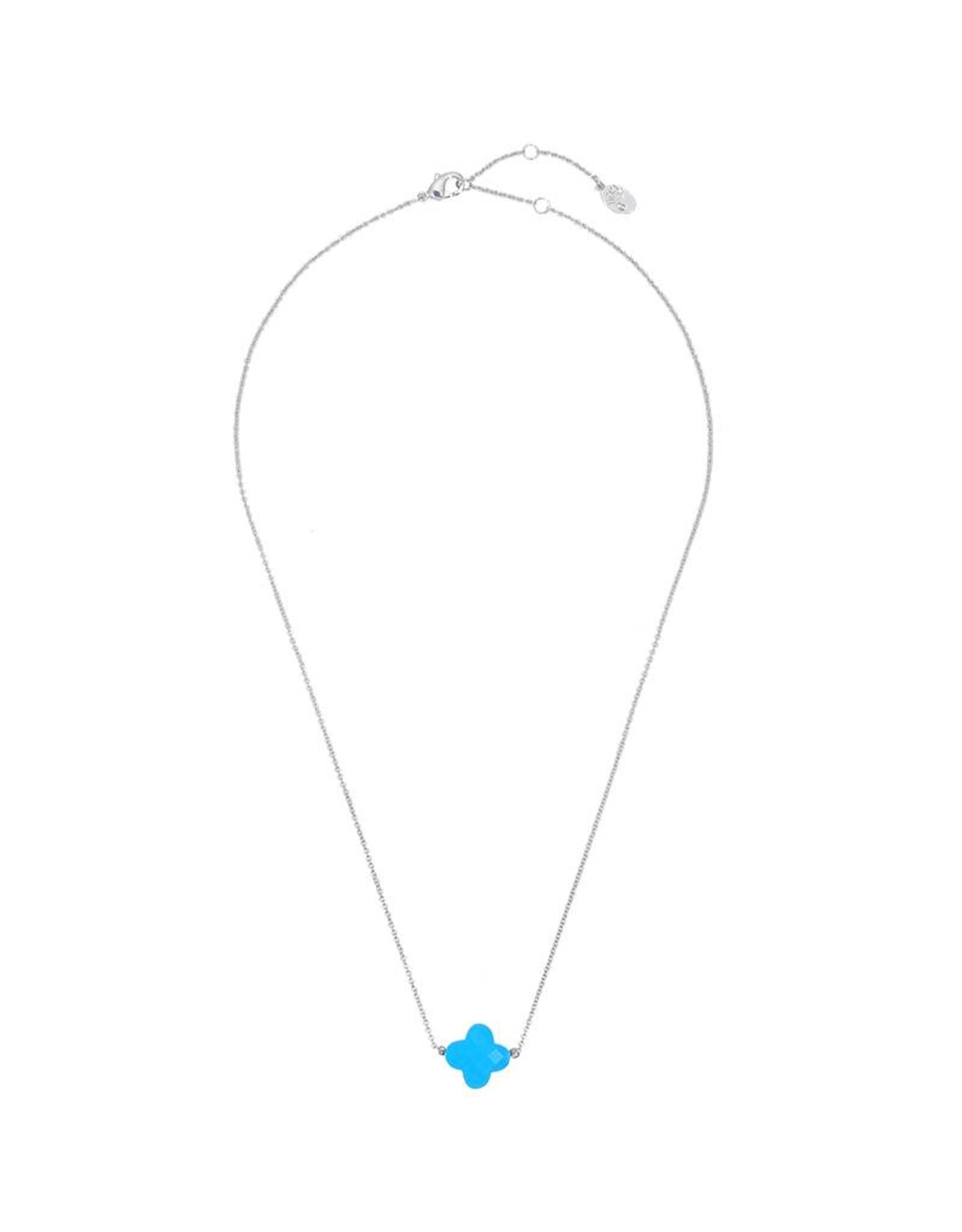 Clover necklace zilver blue