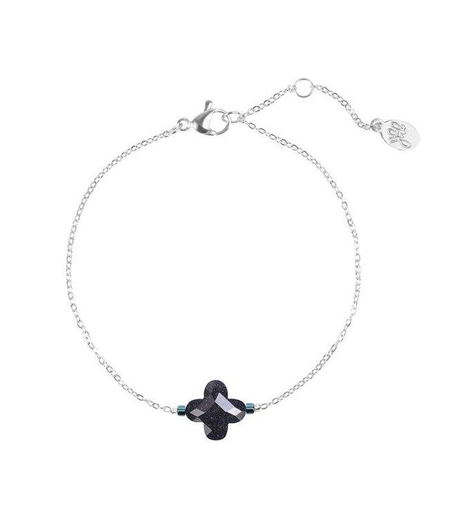 Clover bracelet black/glitter
