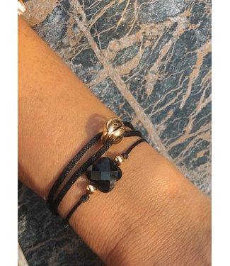 Love Bracelet 3 Rings Zwart Goud
