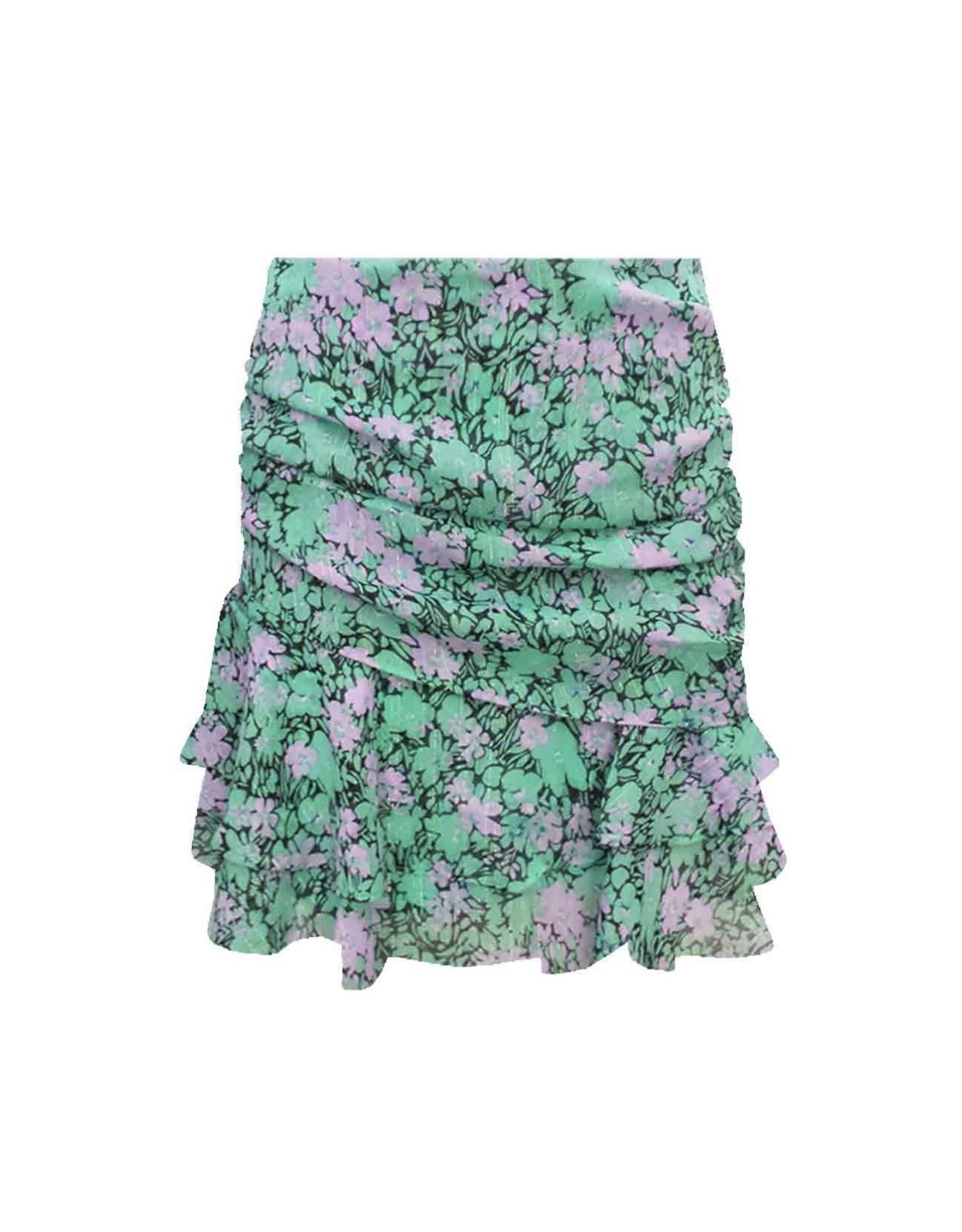 Bloemen rokje mintgroen/lila