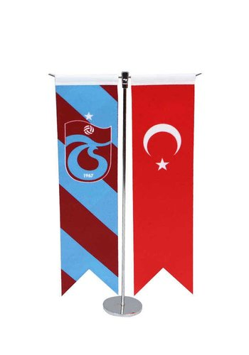 Trabzonspor T Drapeau de Table à rayures verticales Set 8*32 CM