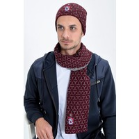 Trabzonspor Set Schal Mütze Bordeauxrot-Grau