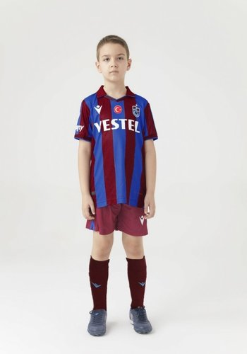 Trabzonspor Macron Kids Shirt Burgundy Blue Striped