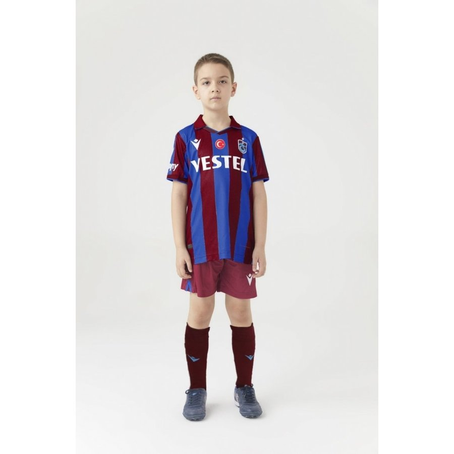 Trabzonspor Macron Kids Shirt Burgundy Blue Striped