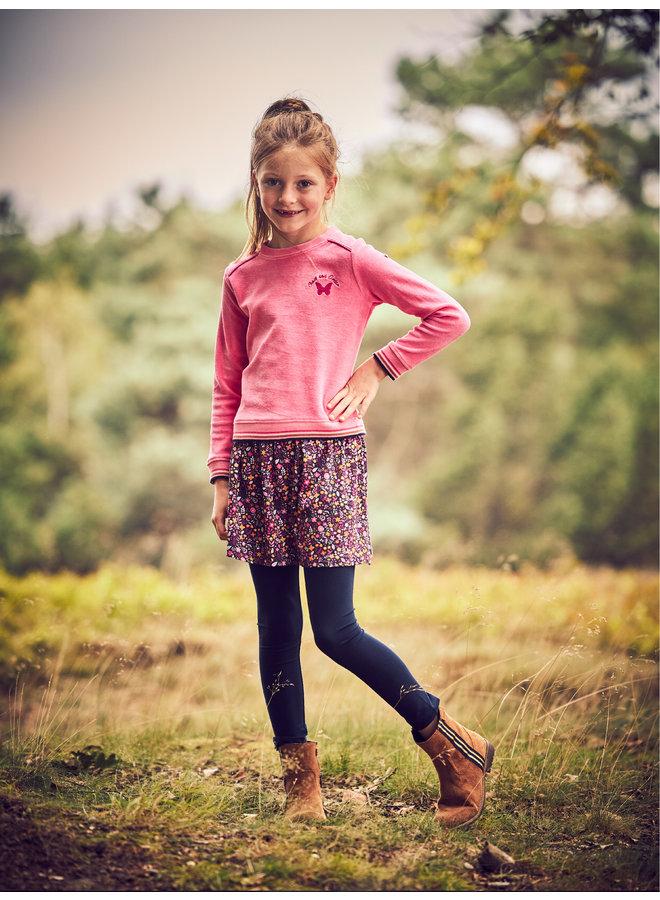 Velours sweater Puk navy/pink