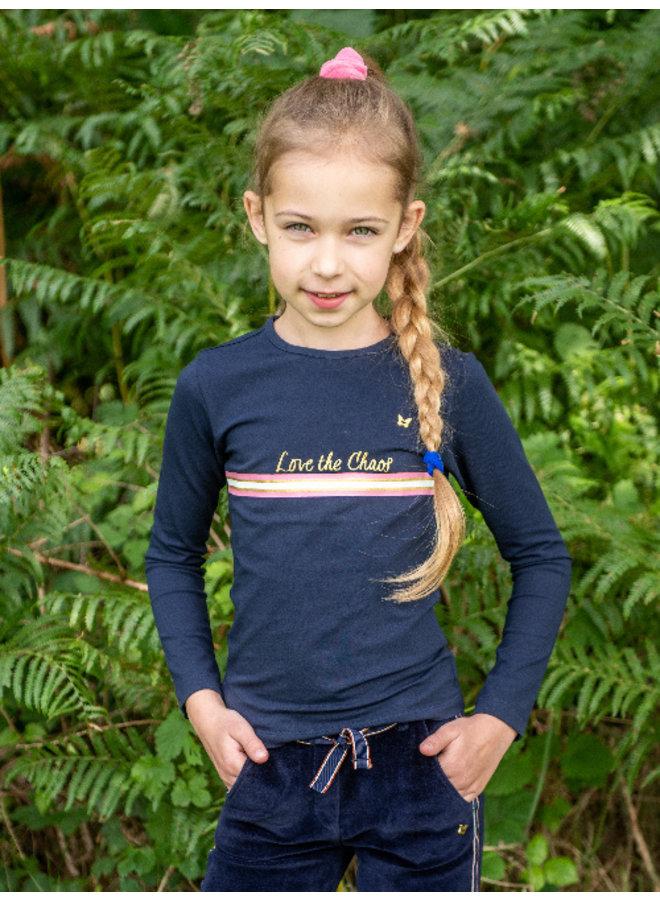 T-shirt lange mouw Pip navy/pink