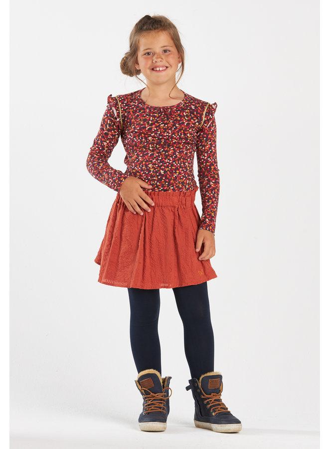 Lined seersucker skirt Melody caramel