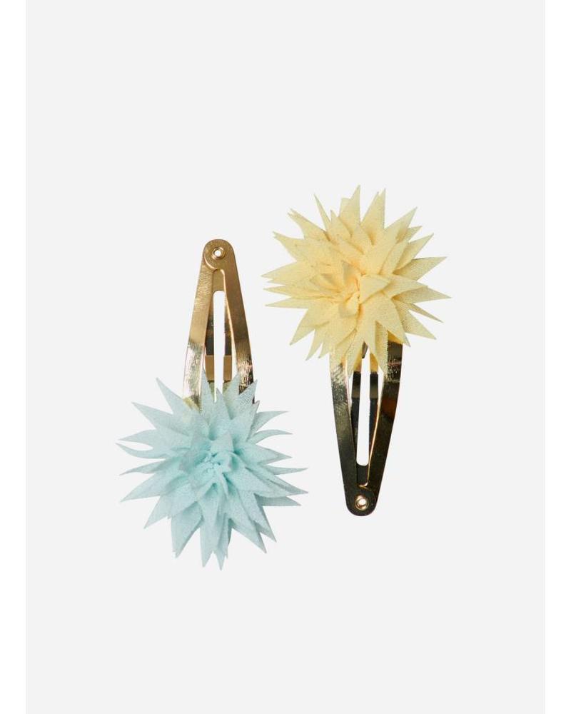 Maileg Dahlia flower clips, lemon and ice mint, 2pcs