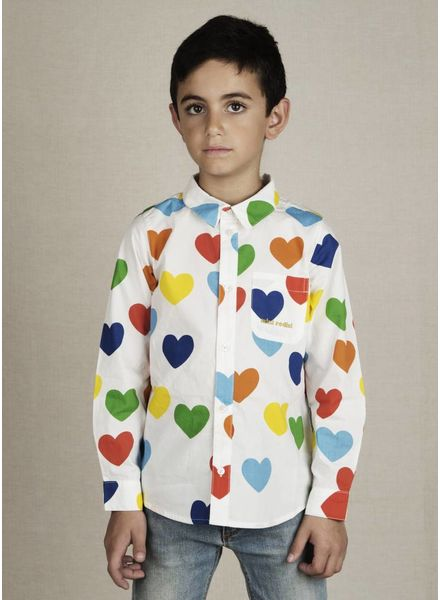 Mini Rodini rainbow love blouse  white