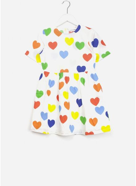 Mini Rodini rainbow love jurk wit
