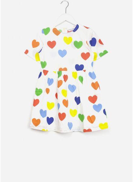 Mini Rodini rainbow love jurk wit
