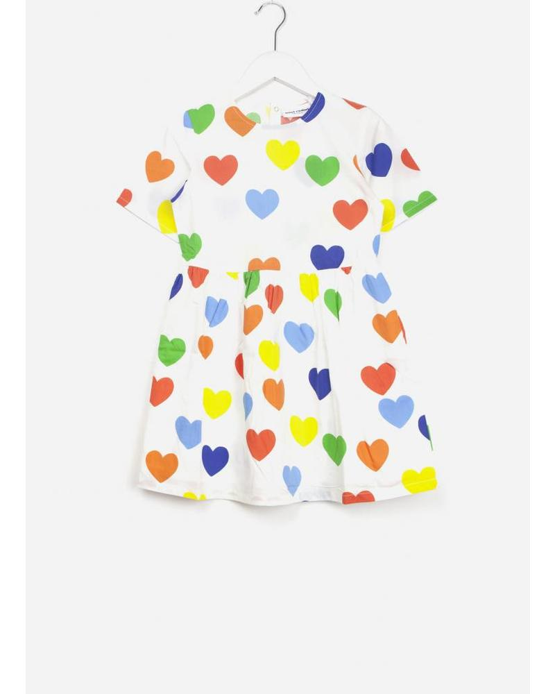 Mini Rodini rainbow love woven dress white
