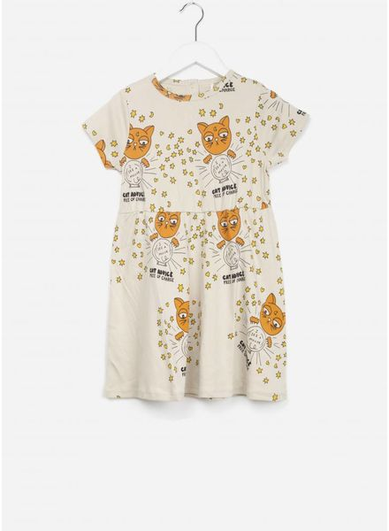 Mini Rodini cat advice jurk beige