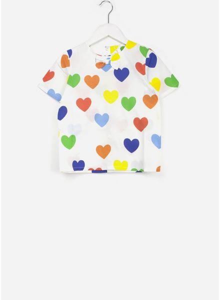 Mini Rodini rainbow love woven blouse white